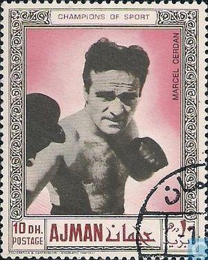 Marcel Cerdan - Marcel Cerdan on a 1969 UAE stamp
