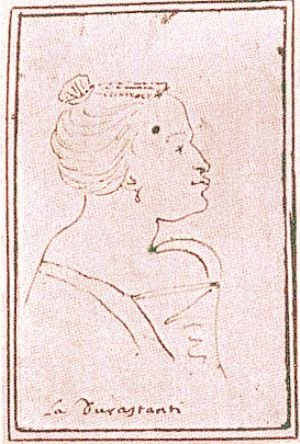 Royal Academy of Music (company) - A caricature of Margherita Durastanti, drawn while she was prima donna at the Teatro San Giovanni Grisostomo, Venice, between 1709 and 1712.