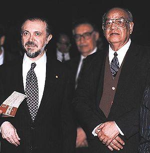 Mario J. Molina - Mario Molina (left) with his country fellow Luis E. Miramontes co-inventor of the first oral contraceptive, ca. 1995