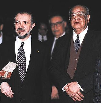 Mario J. Molina - Mario Molina (left) with his countryman Luis E. Miramontes co-inventor of the first oral contraceptive, ca. 1995
