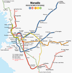 Public transport in Marseille - Metro and tramway network