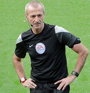 Serbia v Albania (UEFA Euro 2016 qualifying) - English referee Martin Atkinson suspended the match before abandoning it