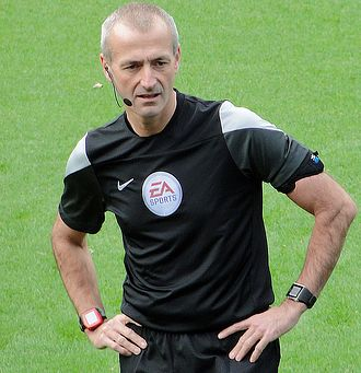 Serbia v Albania (UEFA Euro 2016 qualifying) - English referee Martin Atkinson suspended the match before abandoning it