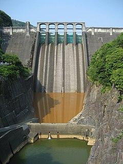 Maruyama Dam dam in Mitake, Gifu Prefecture, Japan.