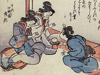 "Ikiryō - Rikonbyō (離魂病) from the Kyōka Hyaku Monogatari illustrated by Masasumi Ryūkansaijin. The woman on the left is afflicted by the ""soul separation illness"", and her ikiryō appears next to her."