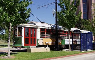 McKinney Avenue Transit Authority - M-line Streetcar 186 at Cityplace Station.