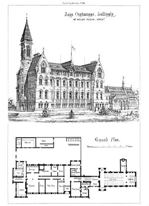 Mayfield College - Clarified and enhanced architectural drawing from The Building News, 1868