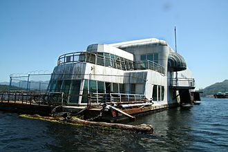 Expo 86 - The McBarge is currently anchored derelict in Burrard Inlet next to an oil refinery