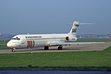 Scandinavian Airlines McDonnell Douglas MD-87 at Berlin Tempelhof Airport in April 1995 McDonnell Douglas MD-87 (DC-9-87), OY-KHF, SAS Scandinavian Airlines.jpg