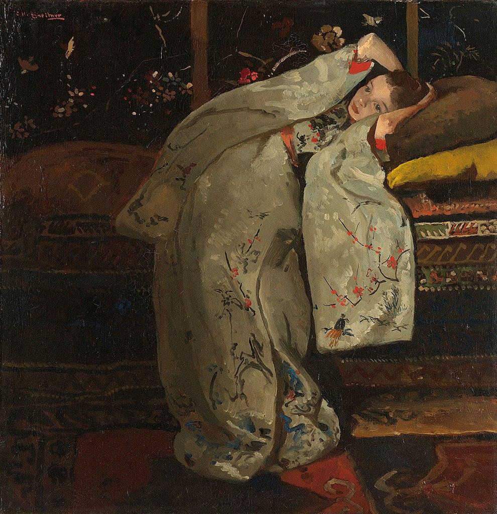 Meisje en kimono blanc de Breitner. Rijksmuseum à Amsterdam.