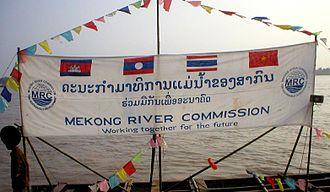Mekong River Commission - Image: Mekong River Commission banderole au Laos