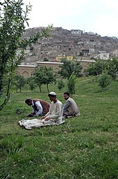 Men praying at Babur Gardens in 2010.jpg