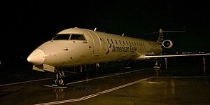 Joplin Regional Airport - An American Eagle (Mesa Airlines) Bombardier CRJ-900 overnights at gate 1 preparing to return to Dallas/Fort Worth the next morning (2017)