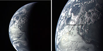 Image of Earth showing the Galapagos Islands. ...