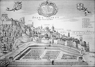 Trieste - Trieste in the 17th century, in a contemporary image by the Carniolan historian Johann Weikhard von Valvasor