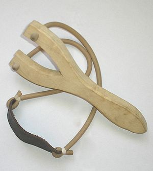 Wooden slingshot with rubber... (slingshot-principle)