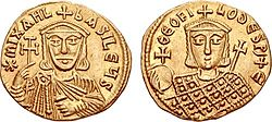 Two gold coins with busts of Michael and Theophilos