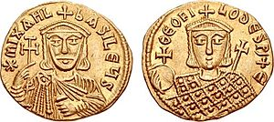 Amorium - Gold solidus of Emperor Michael II the Amorian and his son Theophilos.