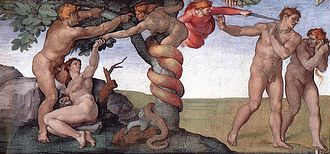 Adam and Eve - The Fall of Adam and Eve as depicted in the Sistine Chapel by Michelangelo