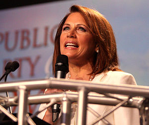 Michele Bachmann presidential campaign, 2012 - Bachmann speaking at the Ames Straw Poll in August 2011.