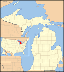 A map of the state of Michigan, with an inset showing the location of Michigan in the United States