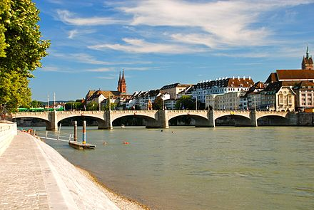 The Rhine in Basel is Switzerland's gateway to the sea Middle Bridge, Basel, Switzerland.JPG