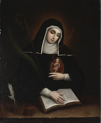 New Spanish Baroque - St. Gertrude the Great, portrait by Miguel Cabrera.
