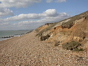 Brickearth - Brickearth deposits exposed as the topmost orange red layer in the cliff at Milford on Sea, Hampshire, UK