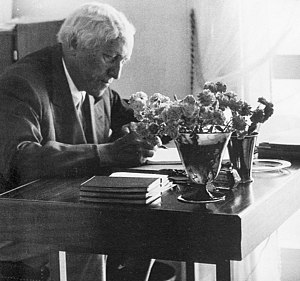 Carl Milles - Carl Milles by his desk in the Millesgården in Sweden 1955