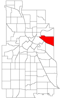 Location of Como within the U.S. city of Minneapolis
