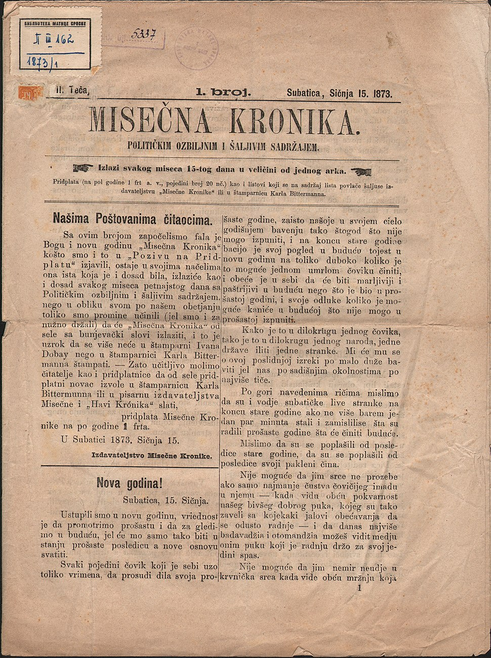 Misečna kronika, II tečaj, br. 1, Subatica, sičnja 15. 1873