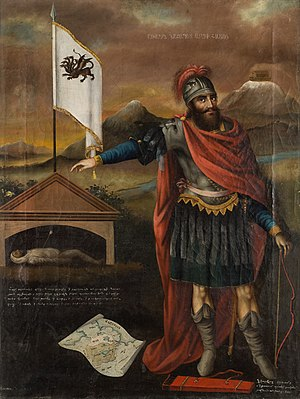 "Hayk - ""Hayk"" by Mkrtum Hovnatanian (1779–1846). The legendary founder of the Armenian nation, standing next to the tomb of Bel, with Hayk's arrow still in Bel's chest. The map depicts the Lake Van region and Mount Ararat, with Noah's ark."