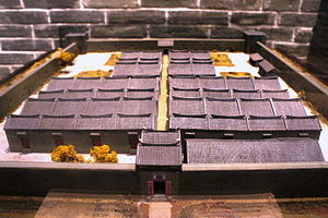 Walled villages of Hong Kong - Model of San Wai (新圍) aka. Kun Lung Wai (覲龍圍), displayed in Hong Kong Heritage Museum.