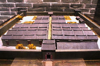 Walled villages of Hong Kong - Image: Model of Kun Lung Wai, Fanling (Exhibit of HKHM)