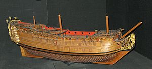 Model of the hull a 90 ship following the design of the 1706 Establishment.jpg