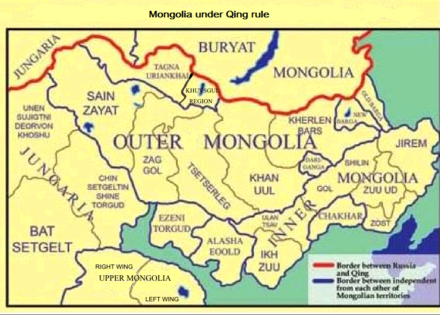 Mongolian aimags during the early period of the Qing rule.