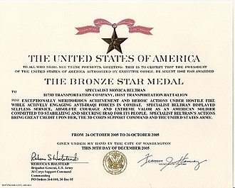 Bronze Star Medal - An example of an army Bronze Star Medal citation, given for combat valor.