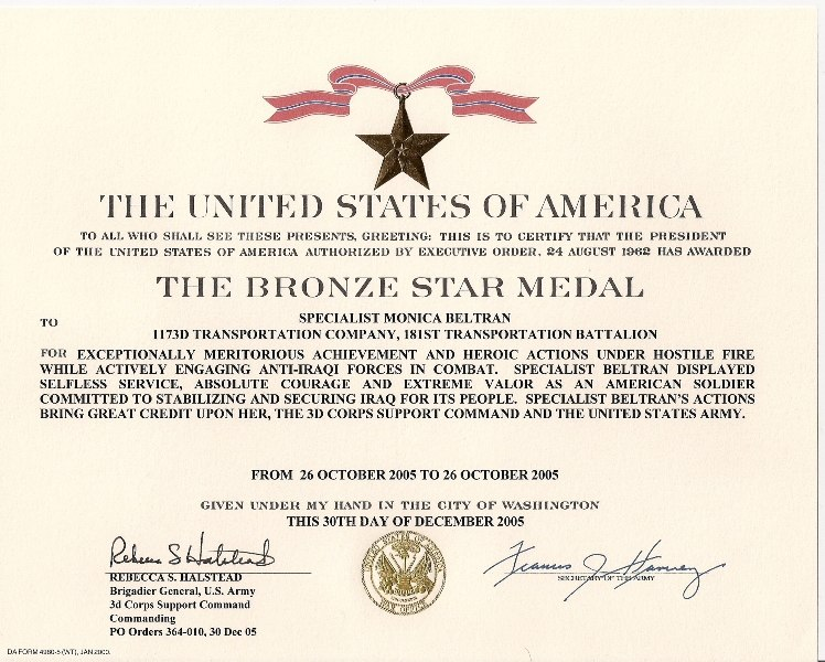 Monica Beltran's Bronze Star Medal with Valor certificate
