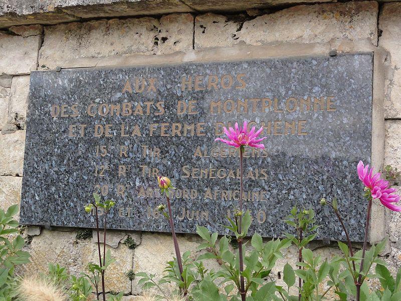 Montplonne (Meuse) memorial de guerre ferme du chêne