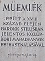 Monument sign. - 9 Országház Street, 2016 Budapest.jpg