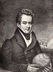 Head and shoulders portrait of a man, mid-thirties, with a high forehead and a stern glance, as he looks out of the picture though turned half to the right. He is wearing a heavy topcoat, stock and high winged collar, and is holding a globe in his hands.