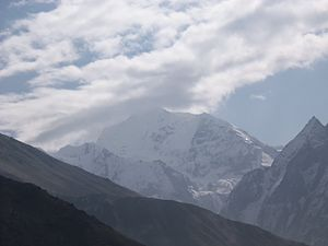 View from the west of the Gangchempo - the summit is in clouds