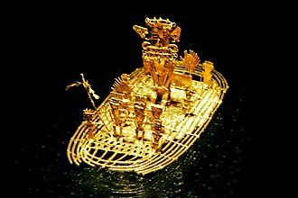 "Spanish conquest of the Muisca - The famous Muisca raft, representing the initiation ritual of the new zipa formed the basis of the legend of El Dorado, the main motive for the Spanish conquistadors to go on a decades long quest for the ""Land of Gold"""