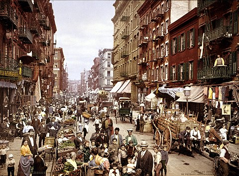 Mulberry Street, along which New York City's Little Italy is centered. Lower East Side, circa 1900 Mulberry Street NYC c1900 LOC 3g04637u edit.jpg