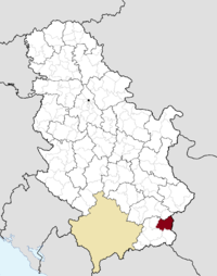 Location of the municipality of Surdulica within Serbia