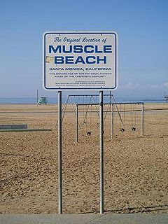 Muscle Beach outdoor weightlifting platform