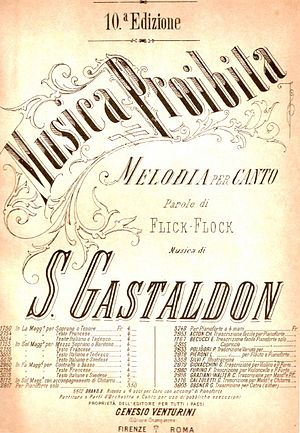 "Stanislao Gastaldon - Cover of the 10th edition of ""Musica proibita"", Gastaldon's most enduring work"