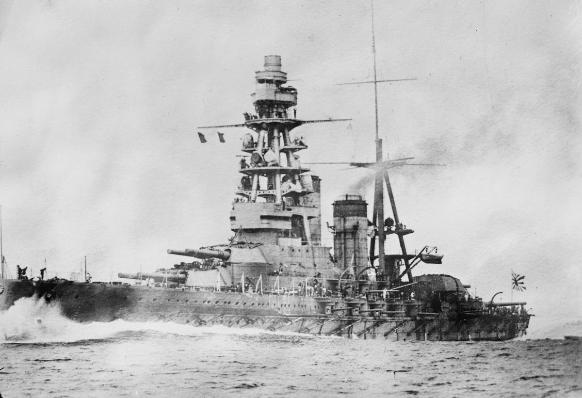Japanese battleship in the sea, 1930s 56