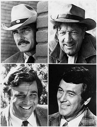 Columbo - The NBC Mystery Movie program worked on a rotating basis – one per month from each of its shows. Top left: Dennis Weaver in McCloud. Top right: Richard Boone in Hec Ramsey. Bottom left: Peter Falk in Columbo. Bottom right: Rock Hudson in McMillan & Wife