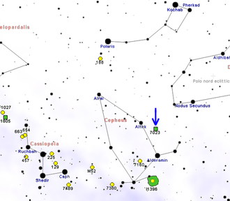 Iris Nebula - Map showing location of NGC 7023 (Roberto Mura)